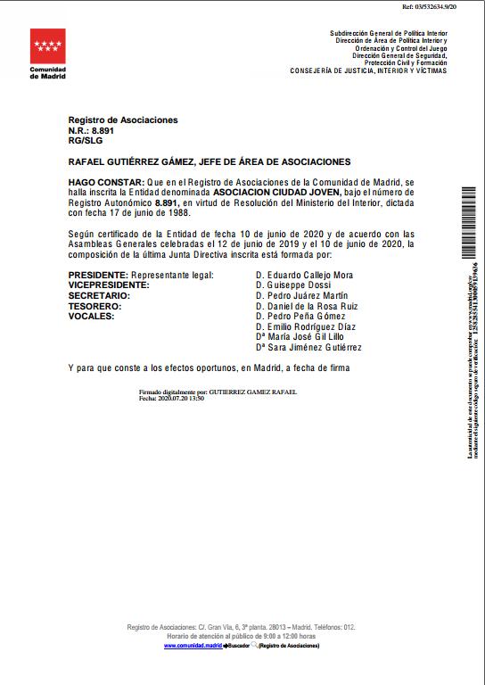 Certificado Junta Directiva
